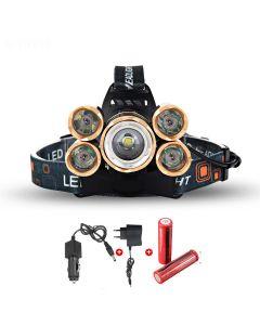 LED reflektor 5000 lumenů vysokovýkonové LED reflektor Boruit 5xCREE XM-L 4 režim světlomet kompletní Set
