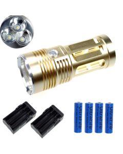EternalFire král 3T6 3 * Cree XM-L T6 LED svítilna 3000 lumenů 3 režimy LED svítilna-Glod kompletní Set