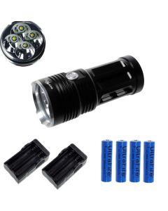 EternalFire král 4T6 4 * Cree XM-L T6 LED baterka 4000 lumenů 3 režimy LED svítilna-černá kompletní Set