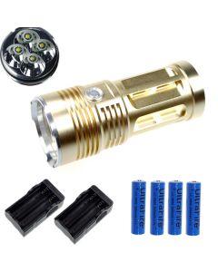 EternalFire král 4T6 4 * Cree XM-L T6 LED baterka 4000 lumenů 3 režimy LED svítilna-Glod kompletní Set