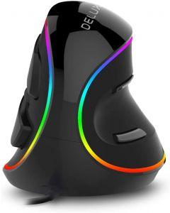 Delux M618 PLUS Ergonomie Vertikální herní myš 6 tlačítek 4000 DPI RGB Kabelové / Bezdrátové pravé myši pro PC notebook