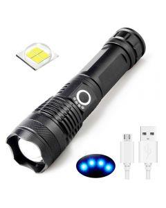 USB nabíjecí baterka XHP50 světelná kontrolka 5 režimy 26650/18650 Zoomitelná baterka