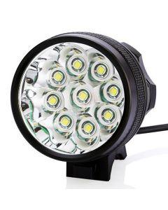 9T6 kolo světlo 9 * Cree XM-L T6 10800 lumenů 3 režimy LED kolo světlometů patří baterie a nabíječky - černá