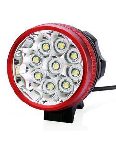 9T6 kolo světlo 9 * Cree XM-L T6 10800 lumenů 3 režimy LED kolo světlometů patří baterie a nabíječky - červená