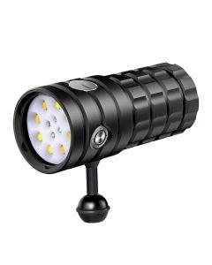 NiteBeam UV 395-400nm Potápěčská baterka 8 XHP50 Bílé světlo / 4x červené světlo / 4x UV lehká LED potápěčská svítilna