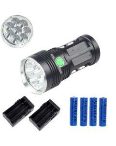 EternalFire král 8T6 8 * Cree XM-L T6 LED svítilna 8000 lumenů 3 režimy LED svítilna-černá kompletní Set