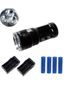 EternalFire král 3T6 3 * Cree XM-L T6 LED svítilna 3000 lumenů 3 režimy LED svítilna-černá kompletní Set