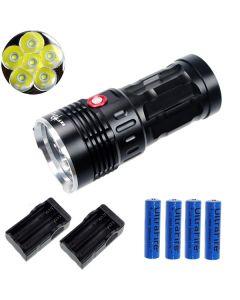 EternalFire král 6T6 6 * Cree XM-L T6 LED svítilna 6000 lumenů 3 režimy LED svítilna-černá kompletní Set