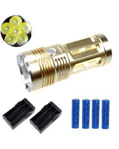 EternalFire král 6T6 6 * Cree XM-L T6 LED svítilna 6000 lumenů 3 režimy LED svítilna-Glod kompletní Set