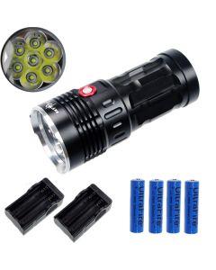 EternalFire král 7T6 7 * Cree XM-L T6 LED svítilna 7000 lumenů 3 režimy LED svítilna-černá kompletní Set