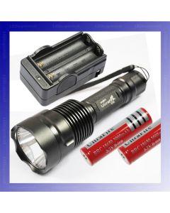 UltraFire C12 CREE XM-L T6 1300 lumenů 5 režimy LED svítilna + 2 * 18650 baterie + nabíječka